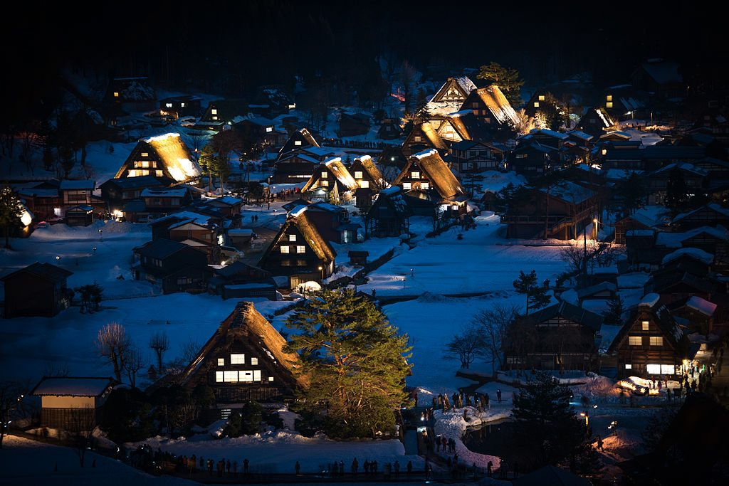 shirakawago at night during a day trip from nagoya