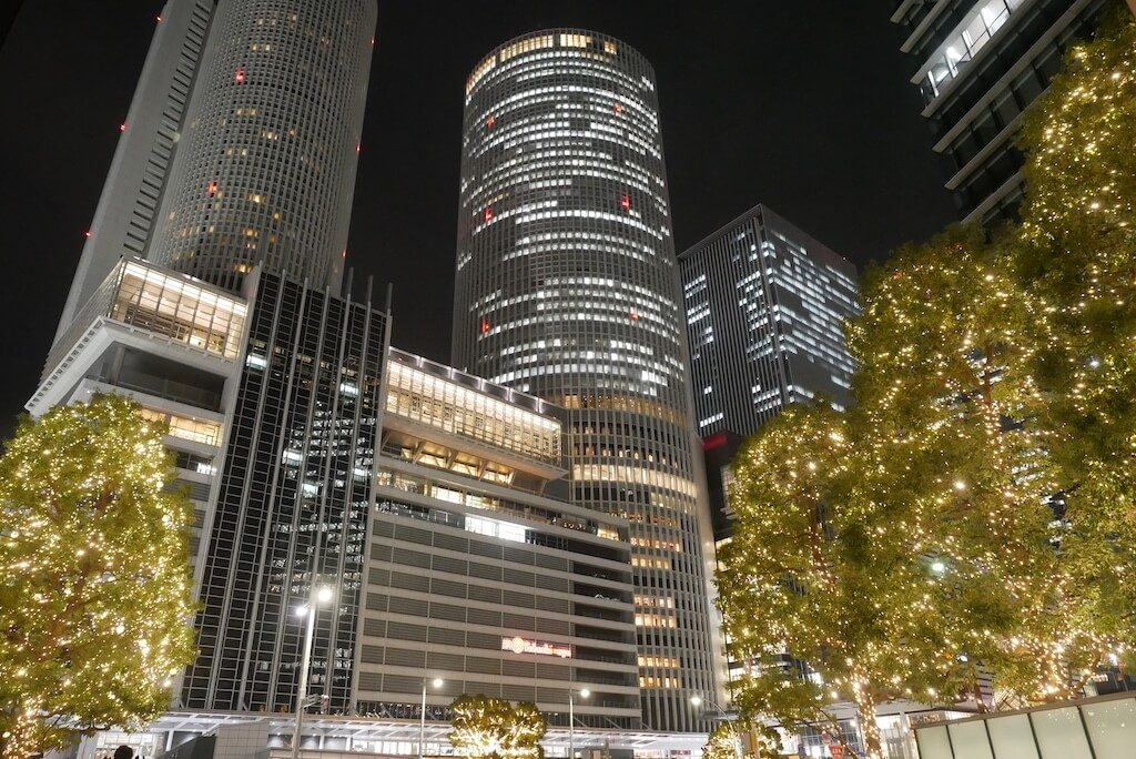 Nagoya Station at night during winter lightup
